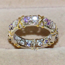 aefa672a83cb Marca de joyas 14KT llena de oro blanco púrpura 5a Zircon piedra cz anillo amarillo  oro Cruz eterna banda anillo de bodas las mu.