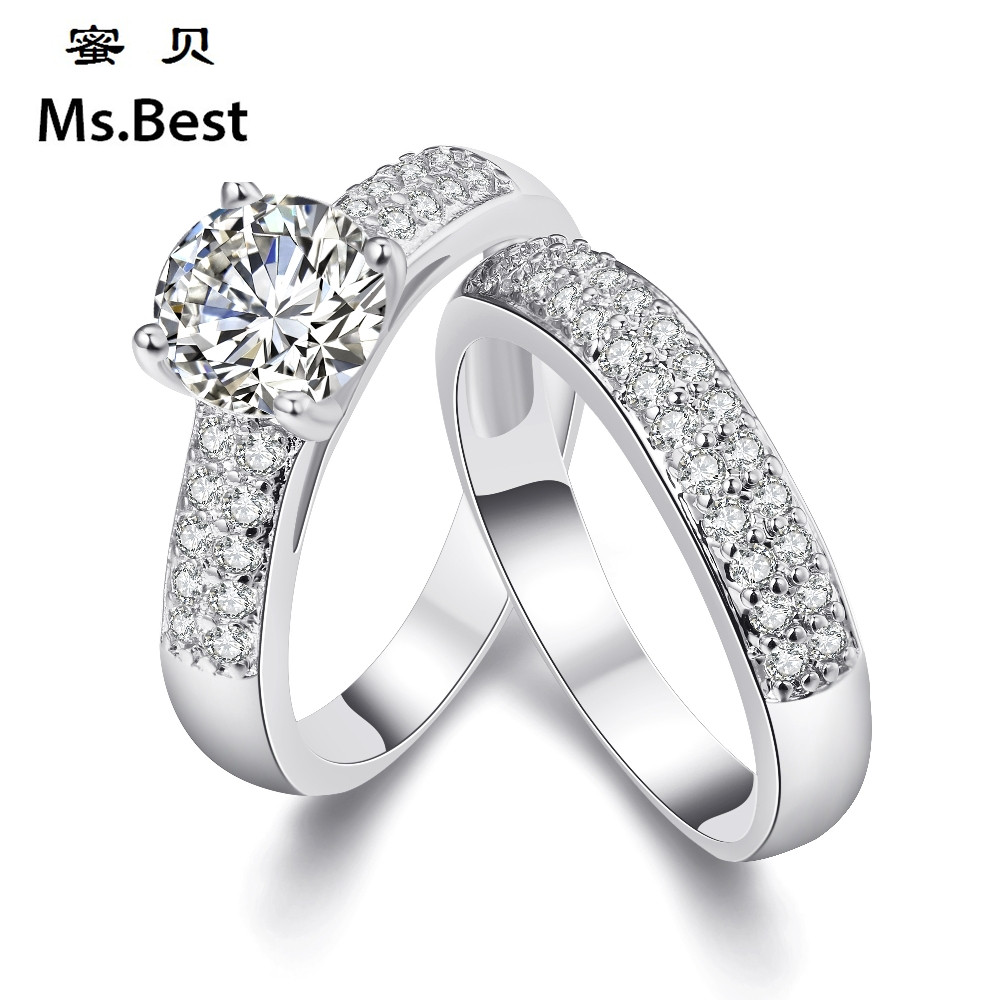 2 Pcs Couples Rings Sets White Gold Color Cz Lovers Anniversary Wedding  Bands For Him And