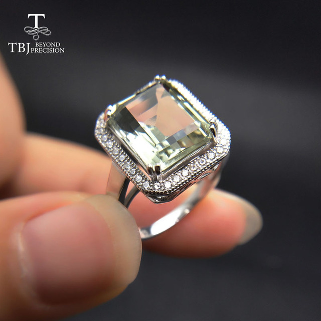 TBJ bague classique pour femmes, bague classique avec améthyste vert naturel oct 9*11mm, en argent sterling 925, bijou fin avec boîte