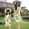 2016 Algodón Sin Mangas de Moda Madre Hija Vestidos de verano muchachas del vestido de la ropa para el bebé y La Madre