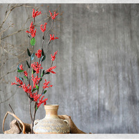 2 Pieces Red Bean Branch Natural Plant Material With Handmade Combination 90CM Length Dried Fruit Home