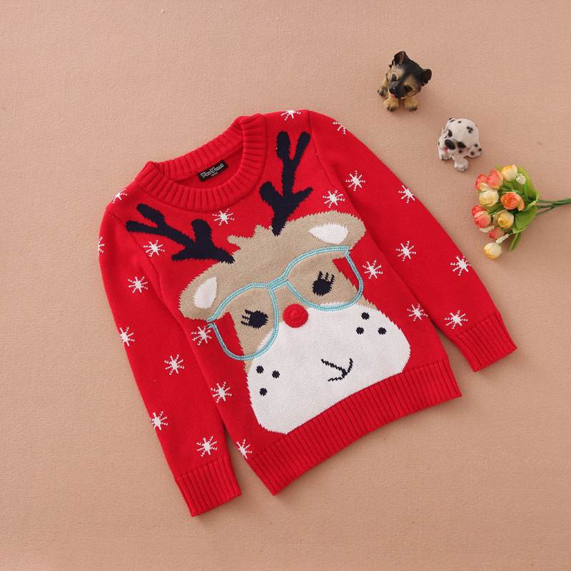 Christmas Kids Girls Santa Claus Reindeer Red Sweater Cartoon Shirt Cute Reindeer Cosplay Kids Xmas Present
