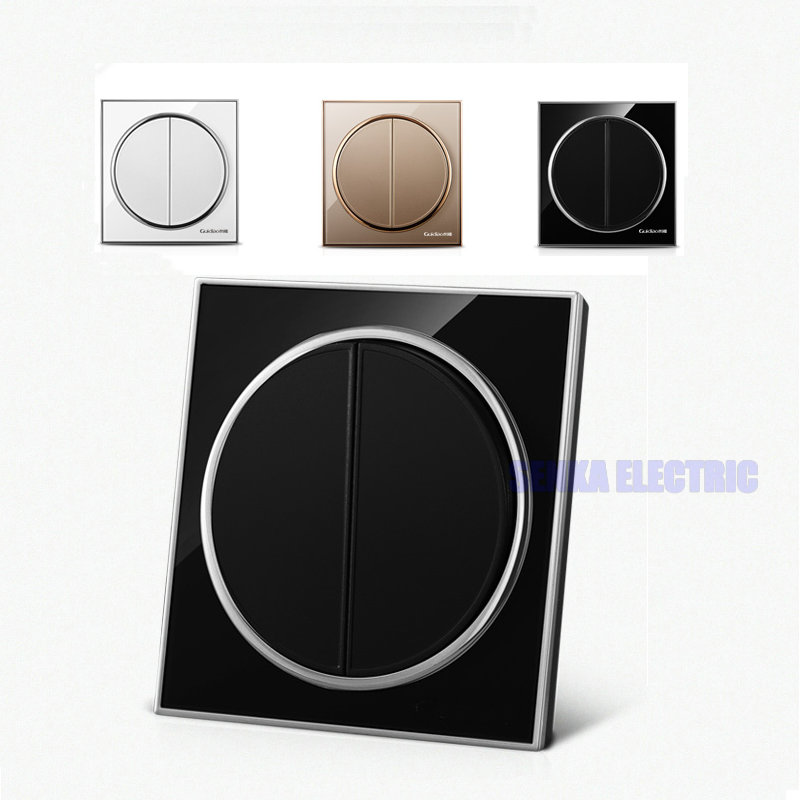 New Round Design 2 Gang 1 Way Panel Switch Glass Face White/Black/Gold Wall Switch автоинструменты new design autocom cdp 2014 2 3in1 led ds150