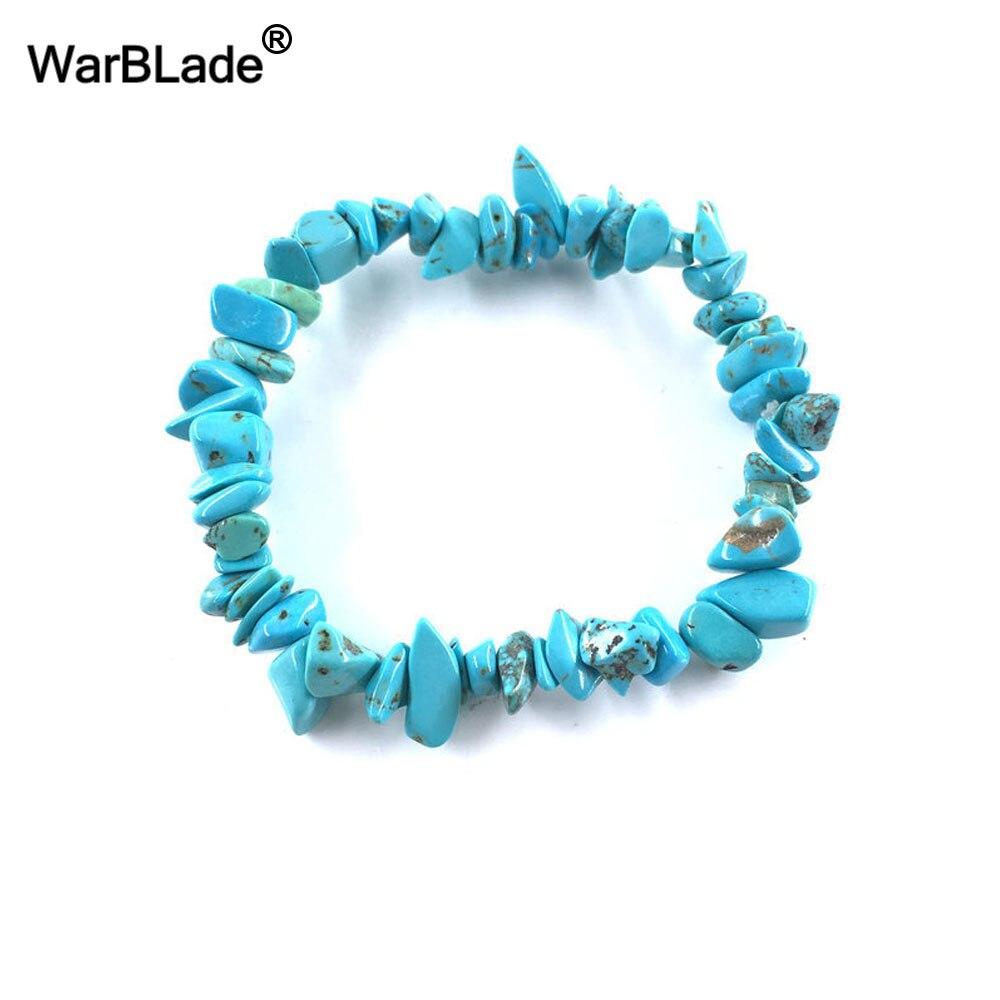 WarBLade Irregular Natural Gem Stone Bracelet Stretch Chip beads Nuggets Amazon Rose Crystal Quartz Bracelets Bangles For Women 2