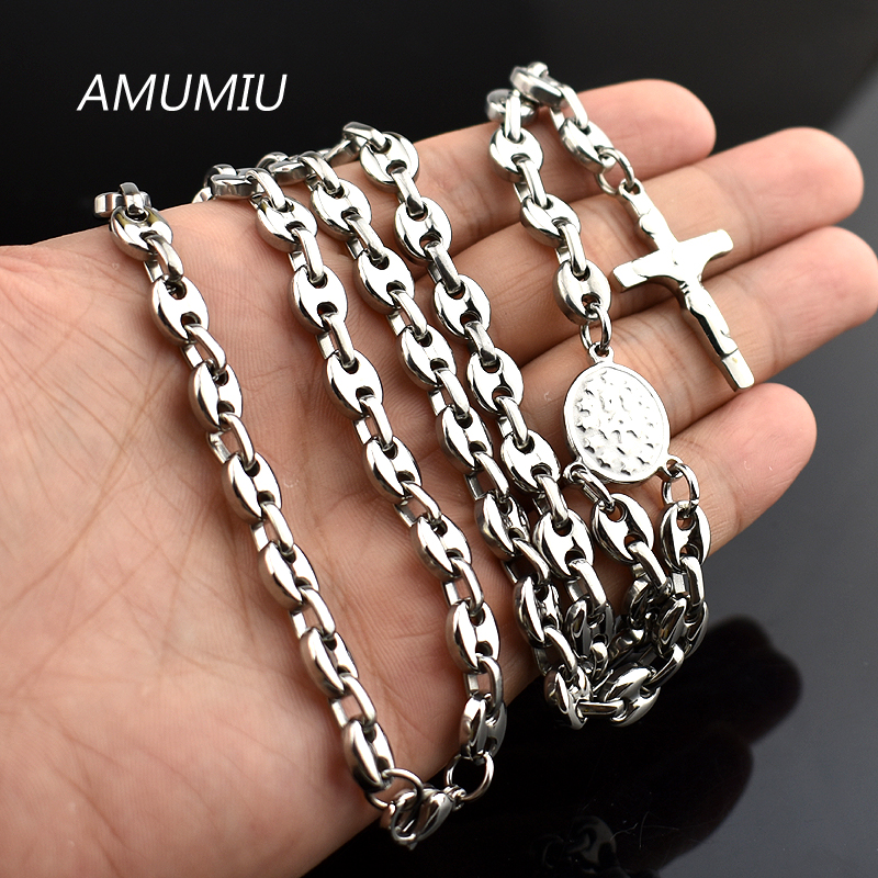 AMUMIU Romantic Rosary Beads chain Cross Religious Party Music Lover Stainless Steel Necklace Womens Mens Wholesale HN095