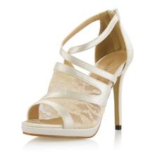 CHMILE CHAU Ivory Satin Elegant Bridal Wedding Party Shoes Women Peep Toe Thin High Heels Ladies Pumps Zapatos Mujer 0640A-14a