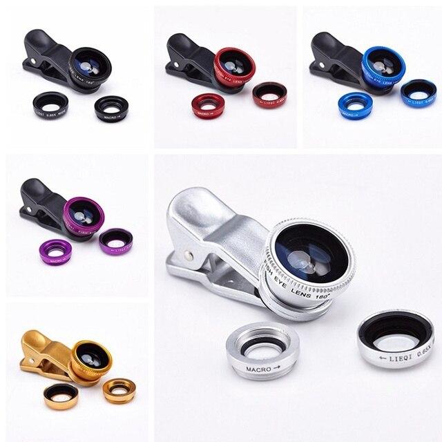 a3983a6a05d Lente Olho De Peixe Para Celular 3 In 1 Clip Fisheye Lens Camera Fish Eye  Wide Angle Macro Lenses for Iphone 7 6 6s 5 Smartphone