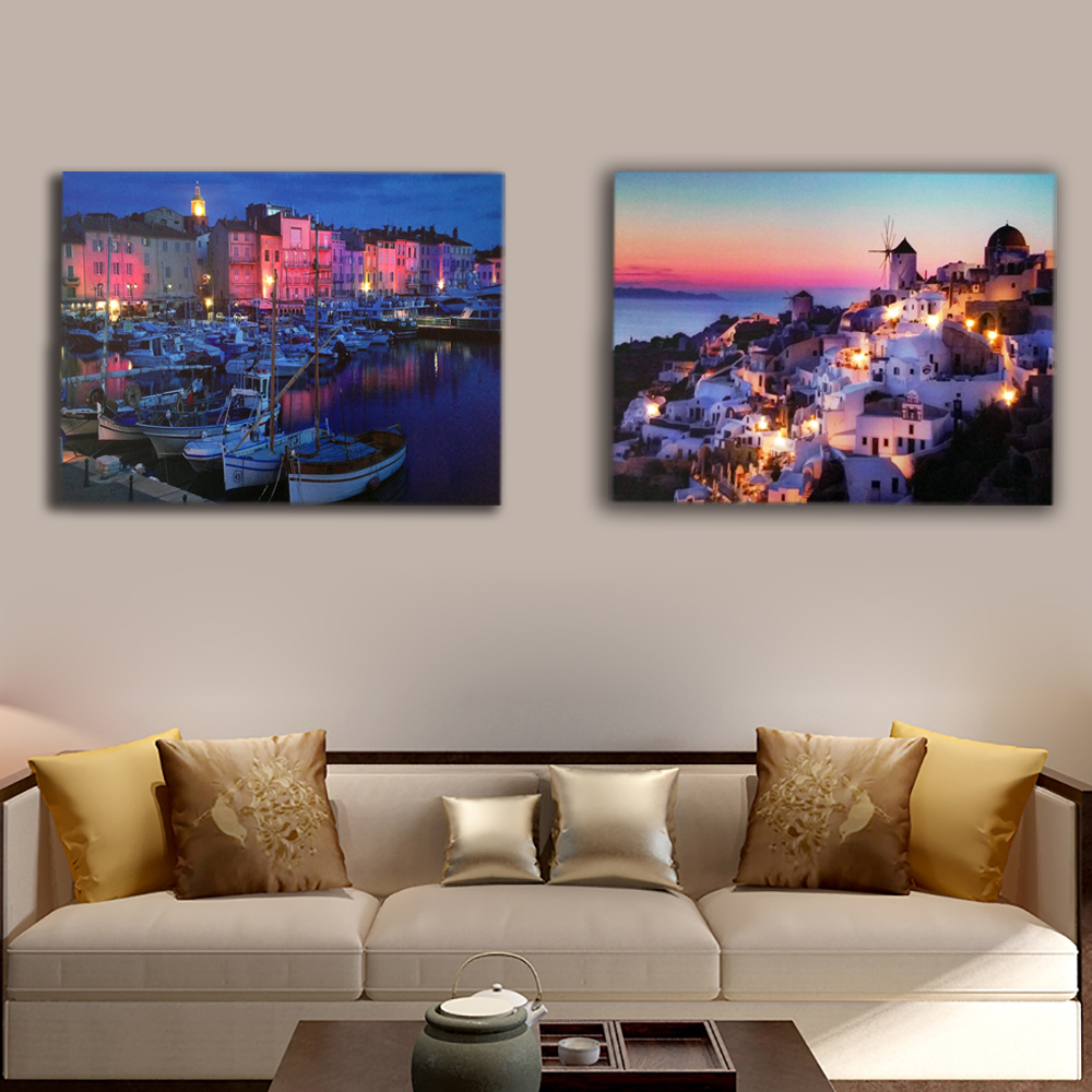 Aliexpress Com Buy 5 Panels Dusk Sunset Boat Printed: Aliexpress.com : Buy Modern Santorini Island Sunset With