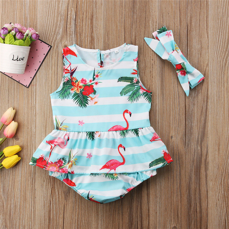 2PCS Newborn Baby Girl Clothes Sleeveless Covered Button Cartton Baby Girl Flamingo Blue White Wide Striped One piece Rompers in Rompers from Mother Kids