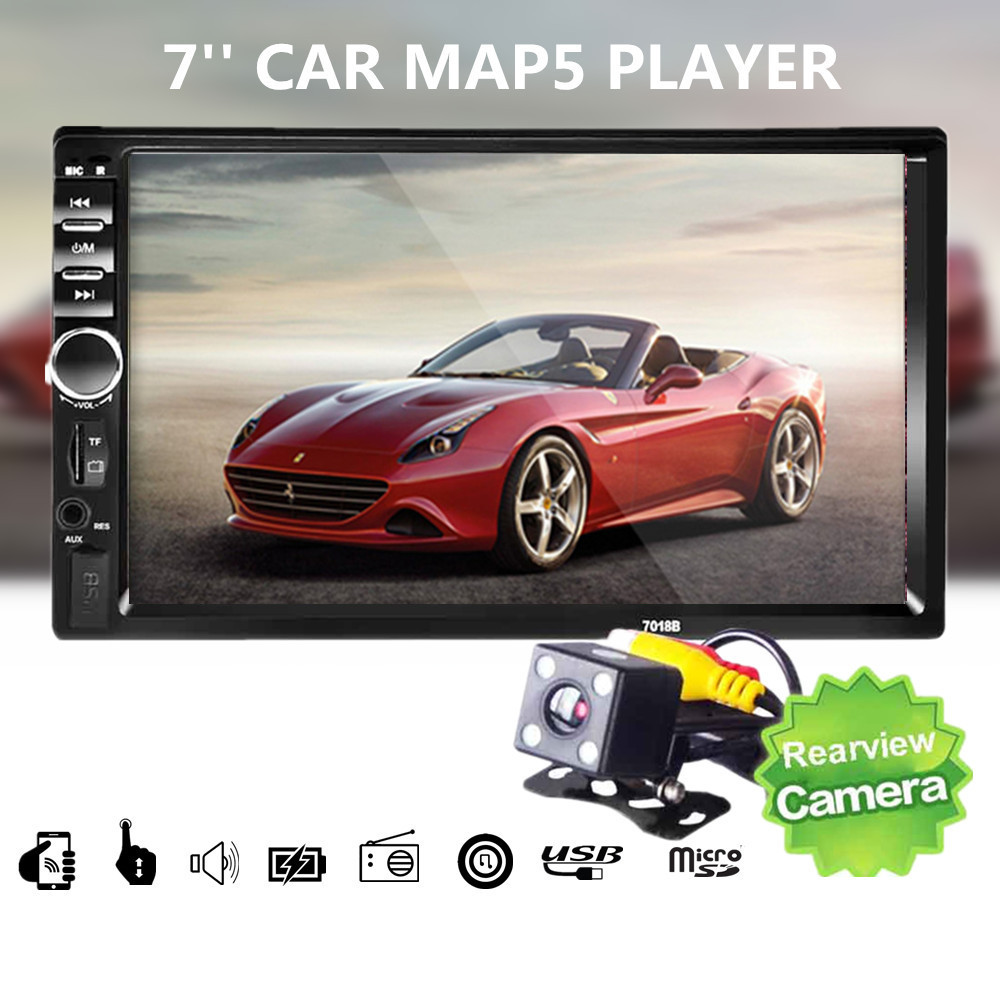 Car 7018B 2 DIN 7 Inch Bluetooth Audio In Dash Touch Screen Car radio Car Audio Stereo MP3 MP5 Player USB with Rearview Camera