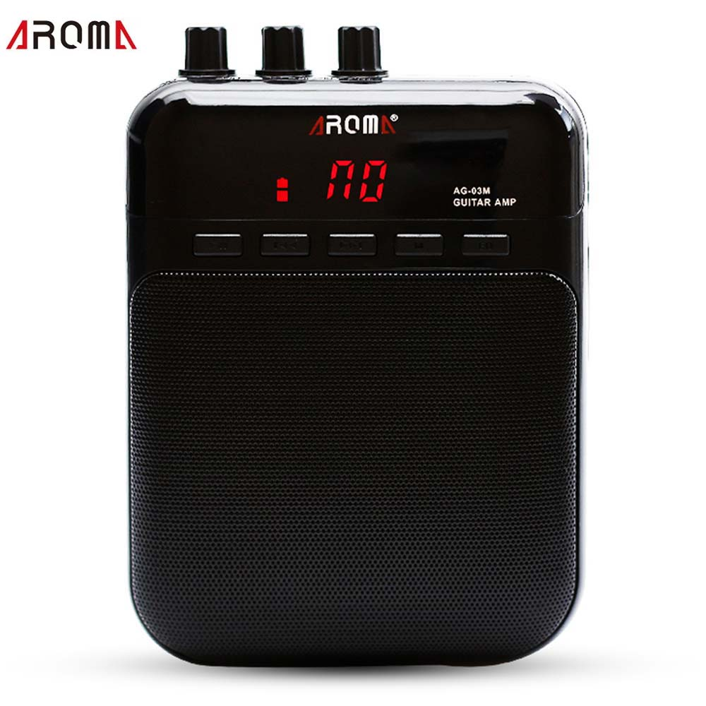 Aroma Guitar Amp Electric Guitar Amplifier Recorder Clean Distortion Sound Micro SD Card Slot Mini Microphone in USB Cable AG03M