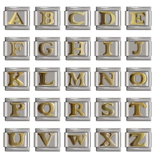 Hapiship Original Daisy Gold 26 Letters A-Z Italian Charm Fit Bracelet Stainless Steel Jewelry Making