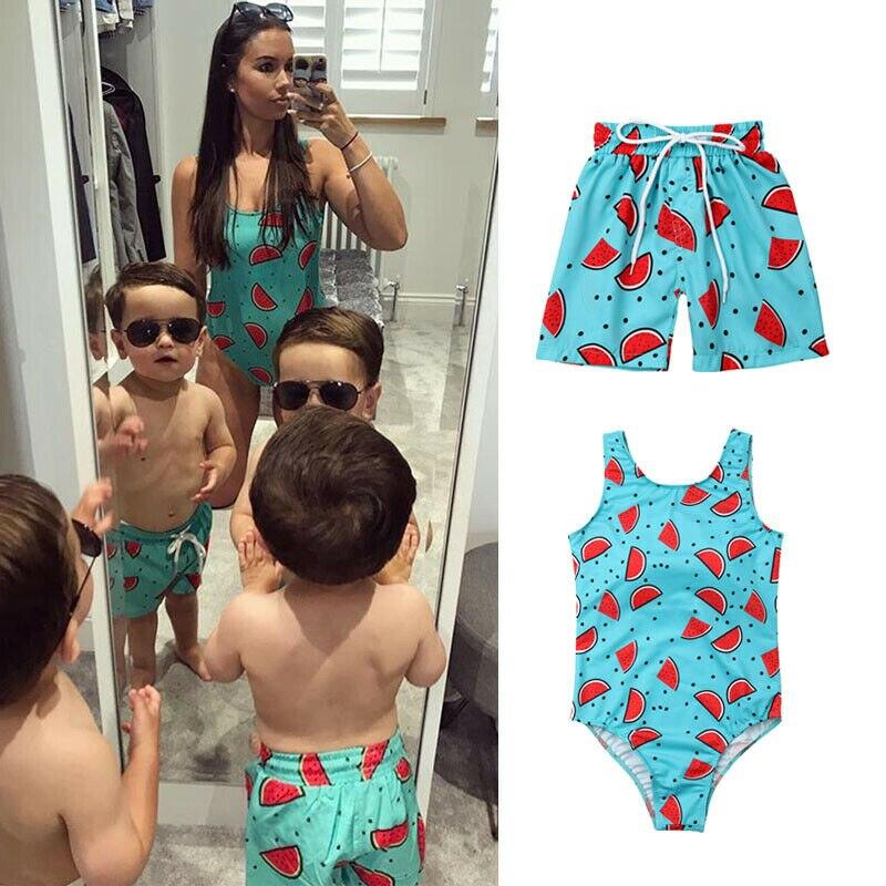 Family Match Summer Watermelon Boys Swimming Trunks Women Bikini Swimwear Swimsuit Bathing Suit One Piece Holiday Soft 2019