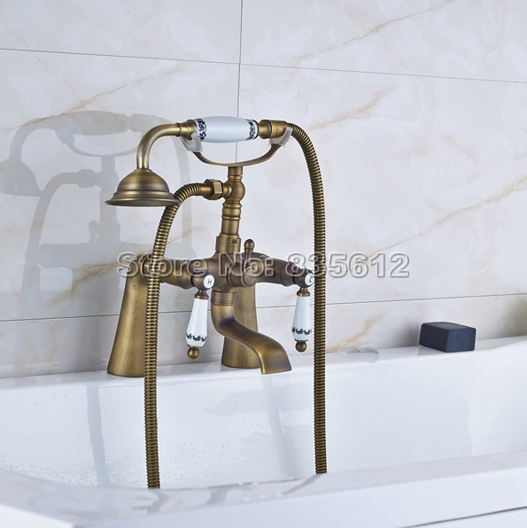Retro Deck Mounted Bath Tub Faucet Bathroom Handheld Shower Faucet Antique Brass Finish Mixer Taps j058