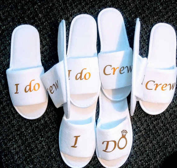 bae9ebd748f5b Personalised Wedding Bridesmaid Bridal Bride Slippers I do crew Hens Night  Bachelorette Spa Slippers party favors gifts