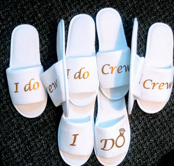 Bridal Party Wedding Gifts: Personalised Wedding Bridesmaid Bridal Bride Slippers I Do