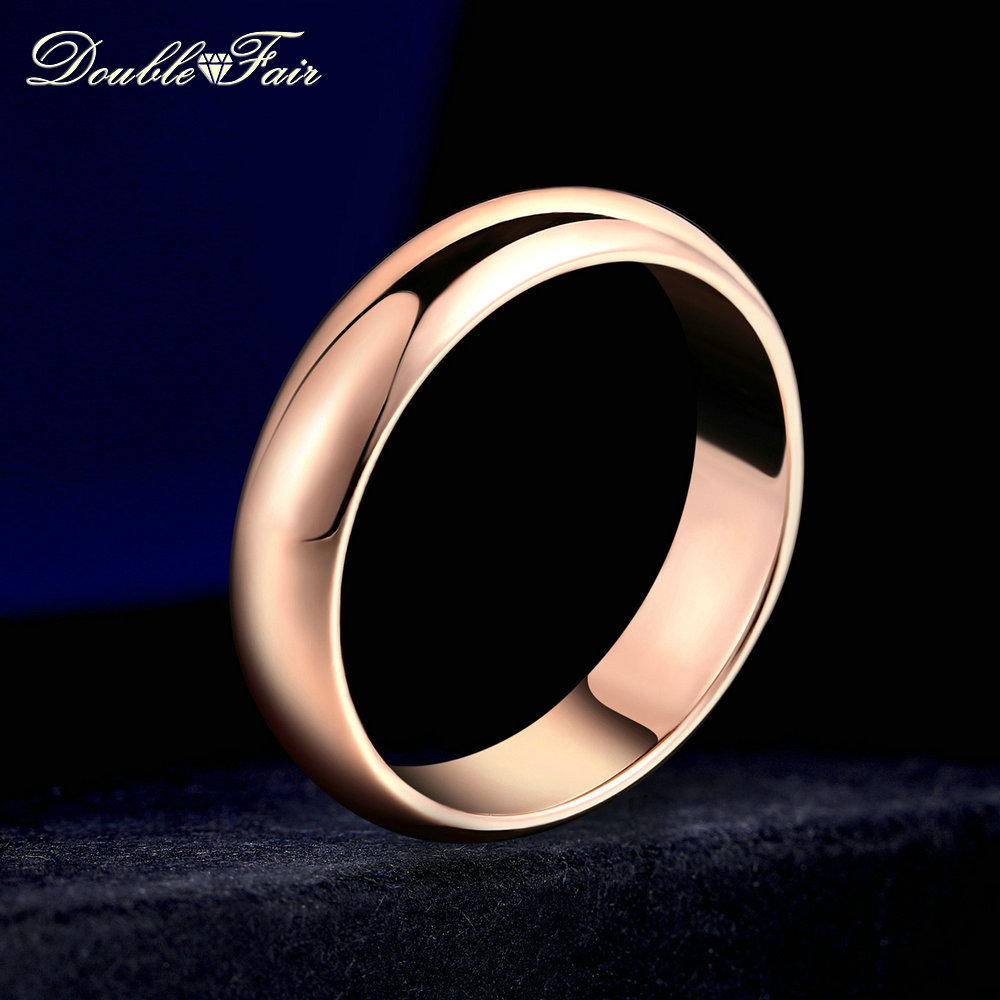 Double Fair Simple Design Couple Round Rings Rose Gold/Silver Color Fashion Wedding Jewelry For Men&Women Lover HotSale DFR049