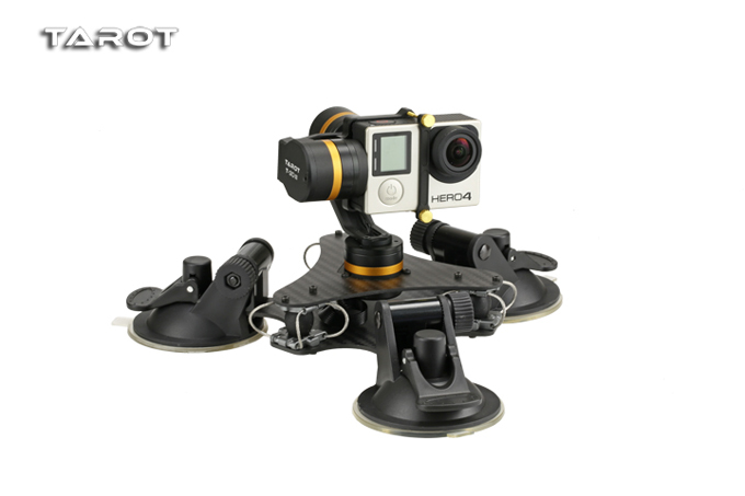 Tarot ZYX T-DZ Stable 3 axes métal caméra cardan stabilisateur voiture monté PTZ pour GOPRO HERO 3/3 +/4 Sport caméra