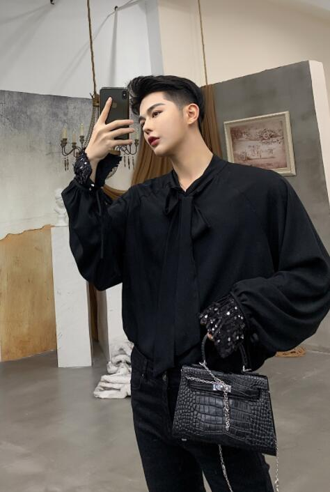 fashion punk Fringed streamers shirt men long sleeve Sequin loose shirt teenage korean shirt mens personality stage singer dance in Casual Shirts from Men 39 s Clothing