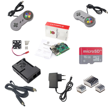Wholesale prices Raspberry Pi 3 Model B Board 2 Gamepad Kits+16G SD card+HDMI cable+ABS Box Case+Cooling Fan+3pcs Heat Sink+5V2.5A Power Adapter