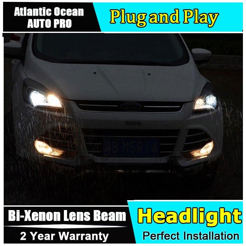 Авто.Про светодиодные фары для Форд куга 2013-2015 ксенон Н7 фары для Форд куга стайлинга автомобилей светодиодные руководство бар DRL фары би-ксенон двойной L