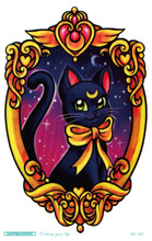 MC685 19X12cm Sailor Moon Tattoo Sticker Body Art Black Cat Kitty In Mirror Temporary Tattoo Terrorist Stickers Flash Taty Tatoo