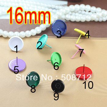 Free shipping!!! 300sets Mixed Color Can Choose Copper Cabochon Settings Earring Post /pad 16mm with Earring stopper