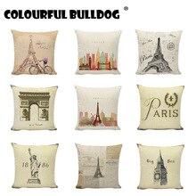 Retrol Paris Tower Big Ben Vintage Fundas de cojín para el hogar de bicicleta decorativas para sofás Hotel 45X45cm fundas de almohada de lino de algodón
