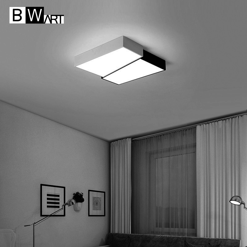 BWART Modern LED ceiling lights for  dining bed room bedroom with remote energy saving Half Black White Square ceiling lamp noosion modern led ceiling lamp for bedroom room black and white color with crystal plafon techo iluminacion lustre de plafond