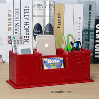 popular creative wooden PU leather school desk pen holder pen case stationery organizer desk set office supplies 202C