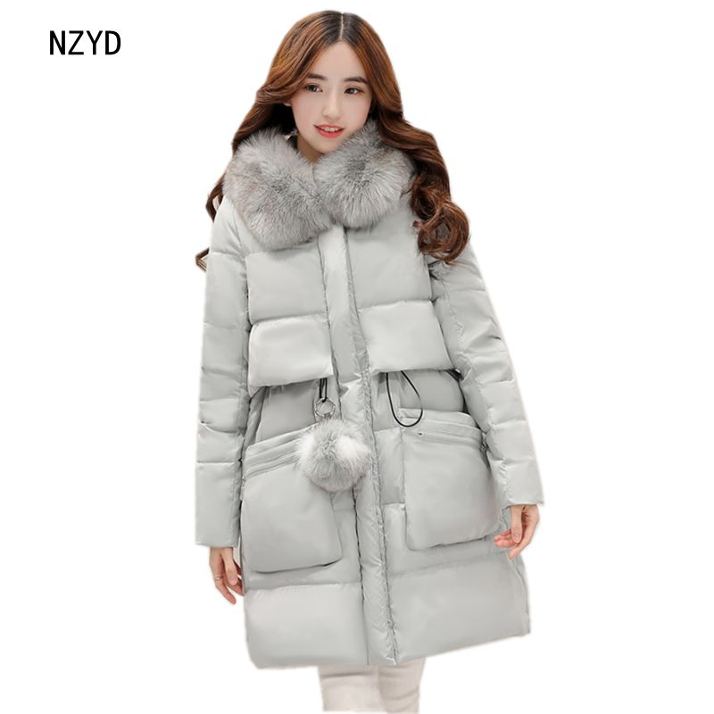 2017 Women Winter Parkas New Fashion Hooded Thick Warm Medium long Down Cotton Jacket 2 Colors Loose Big yards Coat LADIES263 2017 winter women jacket new fashion thick warm medium long down cotton coat long sleeve slim big yards female parkas ladies269