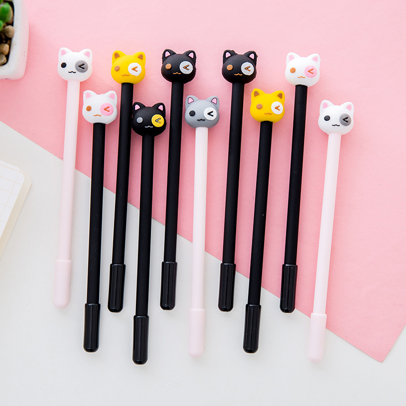2018 Kawaii School Supplies Cute Japanese Stationery Patch the Cat Gel Pens Have a Very Fine 0.38mm Writing Point With Black ink 1pc cute black cat gel pens signature pen kawaii korean stationery creative gift school office writing stationery supplies