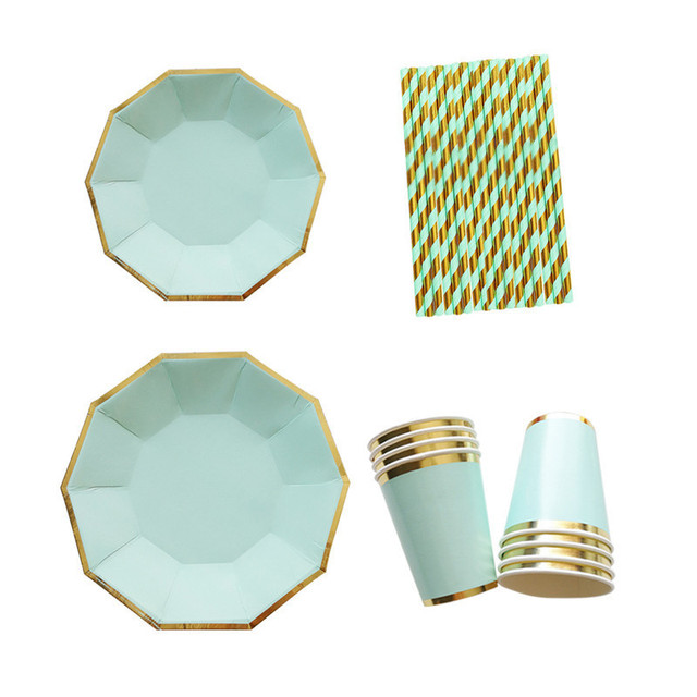 Gold Blocking Disposable Tableware Mint Green One-off Paper Plates Cup Straws Birthday Party Wedding  sc 1 st  AliExpress.com & Gold Blocking Disposable Tableware Mint Green One off Paper Plates ...