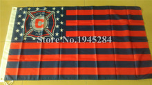 Chicago Fire with US Stars Stripes Flag  MLS Chicago Fire Flag Banner New 3x5ft  90x150cm Polyester Flag, free shipping