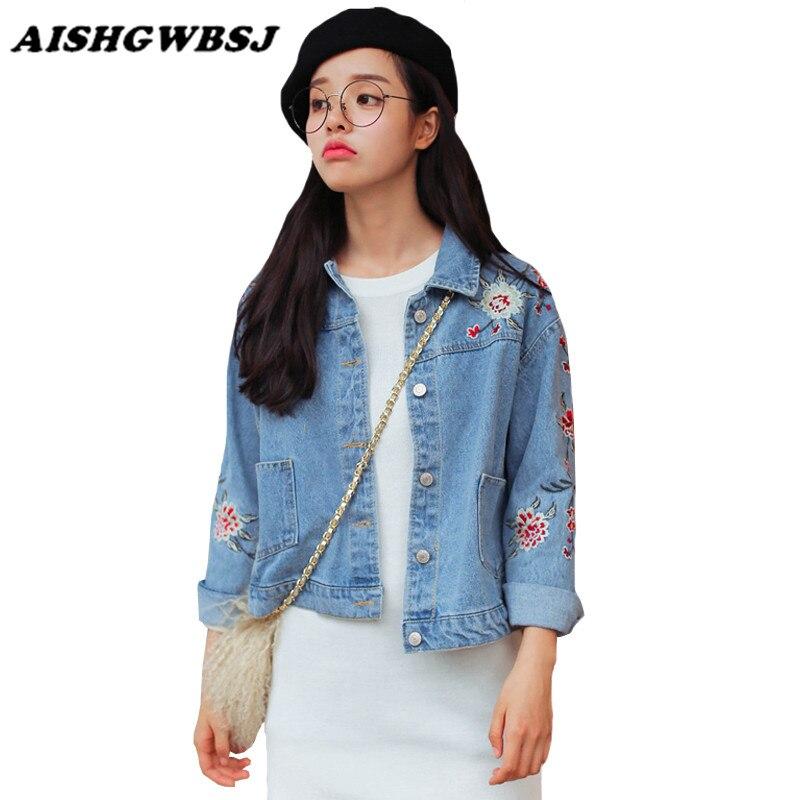 AISHG Blumenstickerei Klassische Jeans Jacke frauen Lose