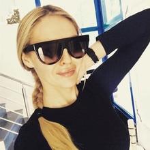 Woman Flat Top Oversized Sun Glasses Cat Eye