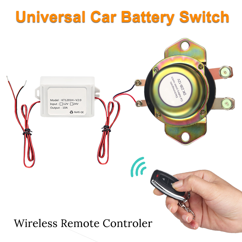 Wireless Control 12V Car Battery Switch Disconnect Latching Relay Electromagnetic Auto Power Terminal + Remote Control