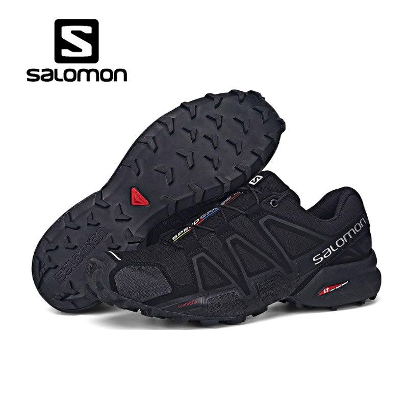 Salomon Chaussures de Course Hommes Femmes Noires Pourpre Chaussures Speed Cross 4 CS Sneakers Dentelle Chaussures Non-slip Jogging Léger chaussures