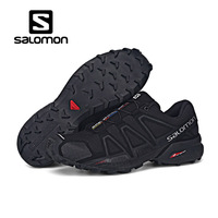 Salomon Running Shoes Men Black Women Purple Shoe Speed Cross 4 CS Sneakers Lace Shoes Non slip Jogging Lightweight Footwear