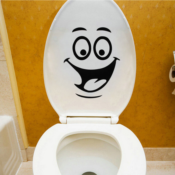 home decor wall stricker on toliet smiling face bathroom toilet