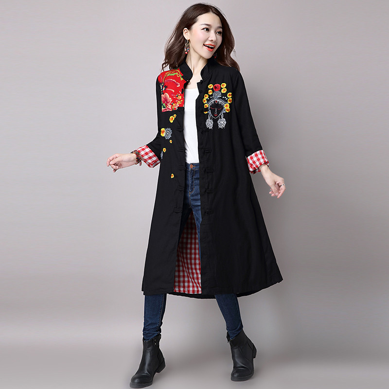 ФОТО 2017 Autumn and Winter New Large Size Loose Long - Sleeved Cotton Linen Cotton Wind Coat 6