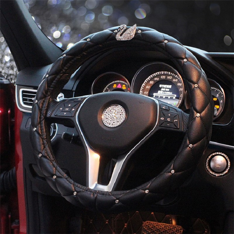 38cm Universal Auto Car Steering Wheel Cover Black Leather with Elegant Rhinestone Swan for BMW Benz Toyota Chevrolet cruze