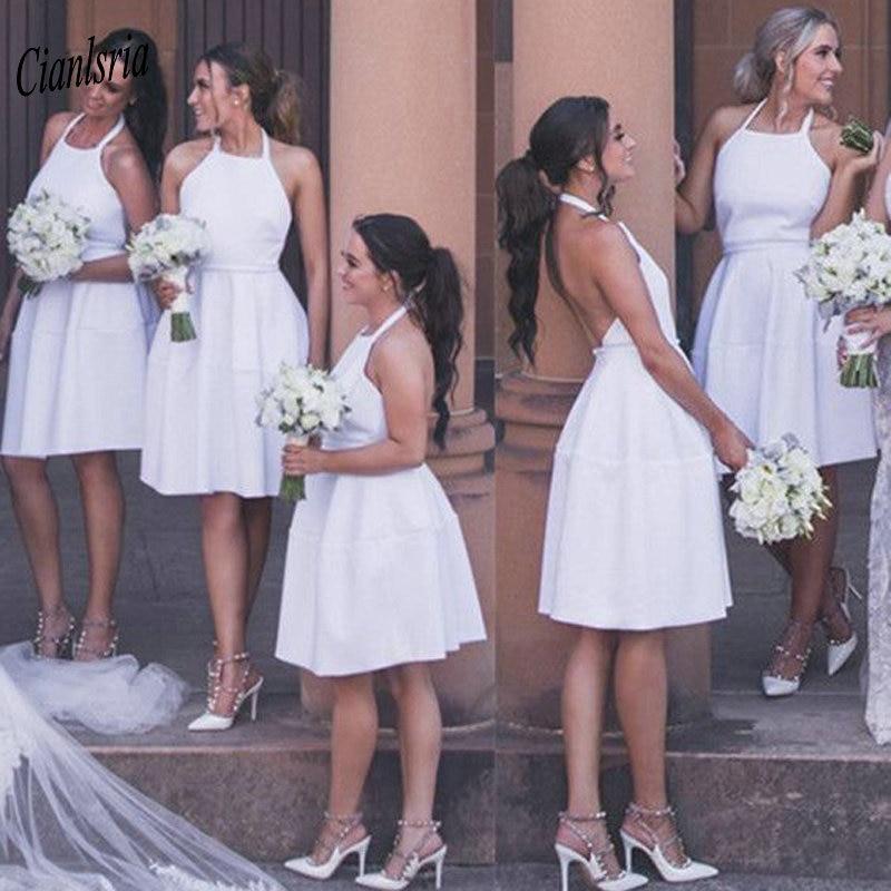 Cheap Halter Backless Short   Bridesmaid     Dresses   Sleeveless Simple Satin Wedding Guest   Dress   For Wedding Party robe demoiselle