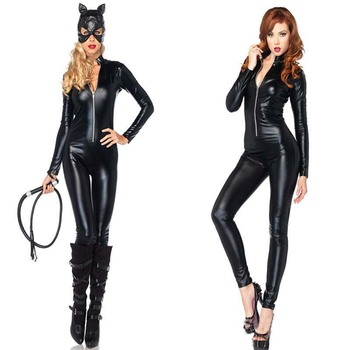 VASHEJIANG  Plus Size XL Cat Costume Black PU Patent Leather Catsuit Front Zipper Sexy Catwoman Costume Sexy Batmen cosplay