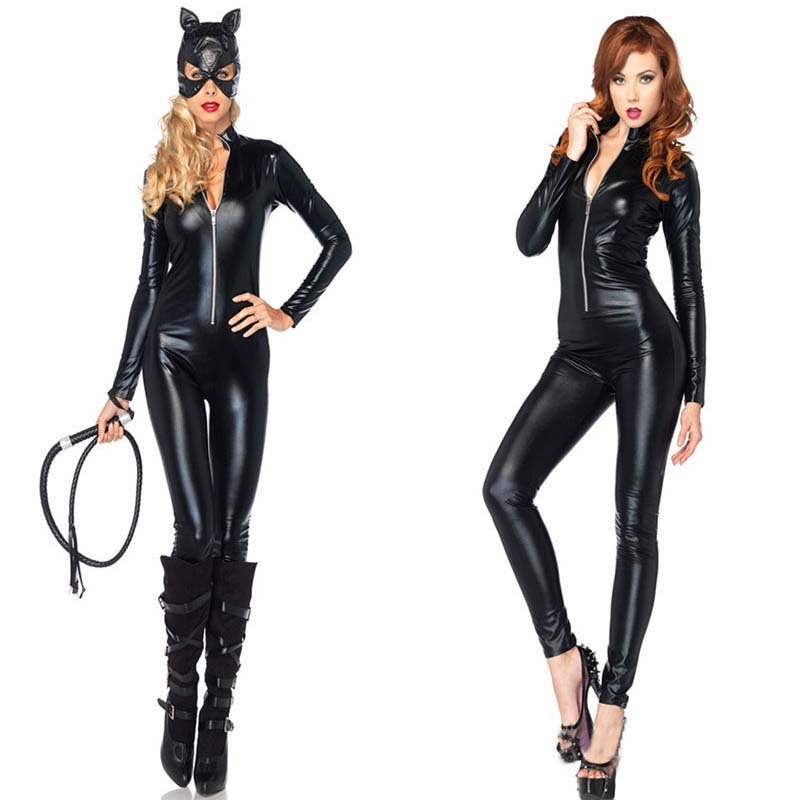 VASHEJIANG Plus Size XL Cat <font><b>Costume</b></font> Black PU Patent Leather Catsuit Front Zipper <font><b>Sexy</b></font> <font><b>Catwoman</b></font> <font><b>Costume</b></font> <font><b>Sexy</b></font> Batmen cosplay image