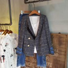 2020 Fashion High Quality OL Autumn Winter Plaid Pearl Buttons Blazer Women Notched Collar