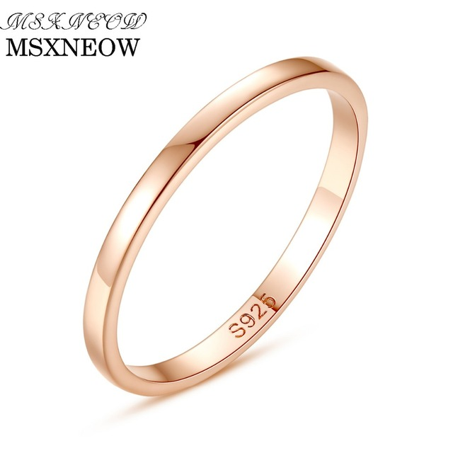 Aliexpress Com Buy Msxneow S925 Silver Rose Gold Color Ring Simple