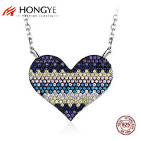 Brighton Women 925 Sterling Silver Jewelry Colorful Full Cubic Zirconia Beads Heart Necklace Pendant Femme Valentine