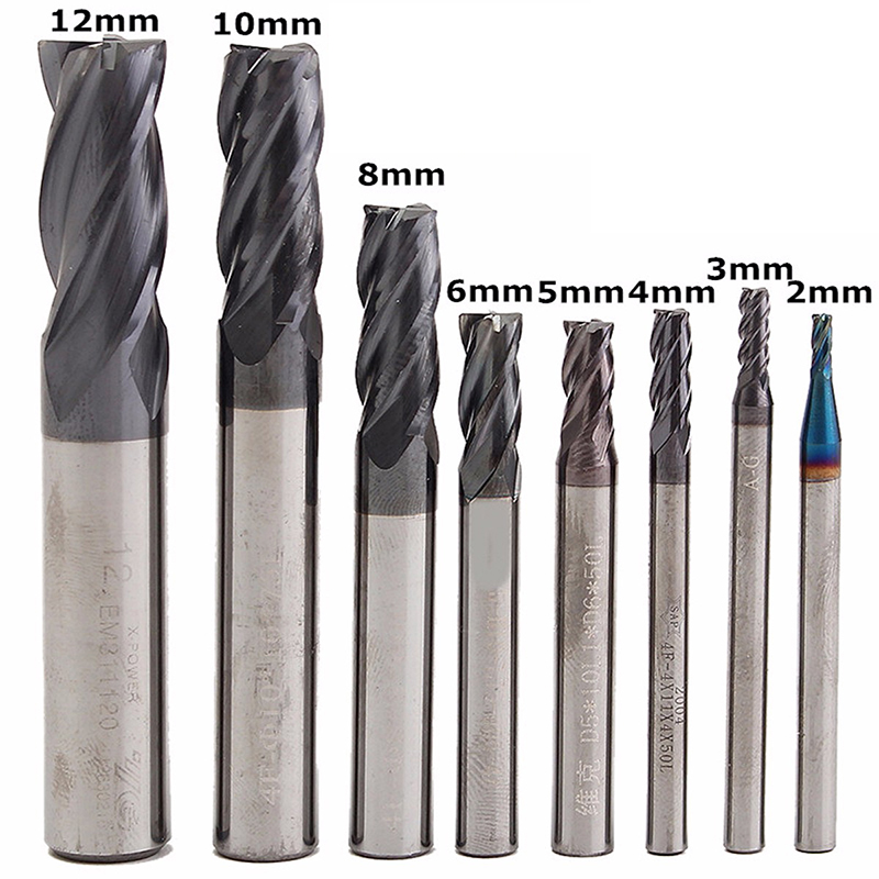 8mm x 8mm x 25mm x 75mm Straight Shank 2 Flute End Mill Bit Gray
