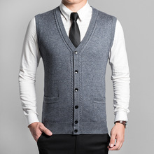 Hot New Autumn Clothing Men's Sweater Cardigan Vest Sweaters Wool Pullover Mens V-Neck Sleeveless Vest Plus Size 3XL